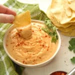 Vegan queso dip on a chip