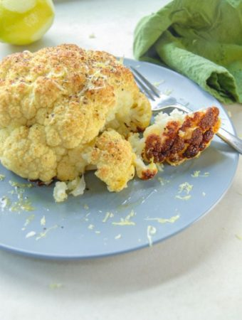 Whole roasted cauliflower head