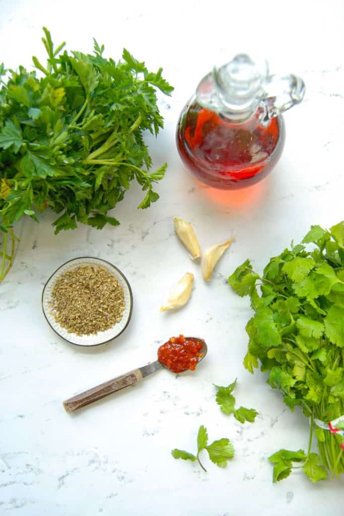 Ingredients for chimichurri sauce made with cilantro