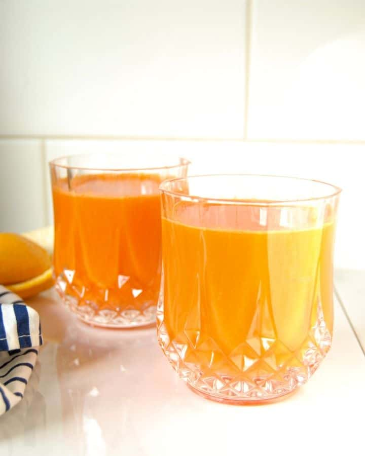 Fresh orange and carrot juice.
