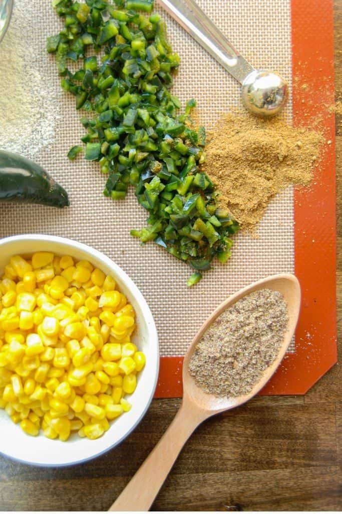 Ingredients needed to make gluten free corn fritters using chickpea flour!
