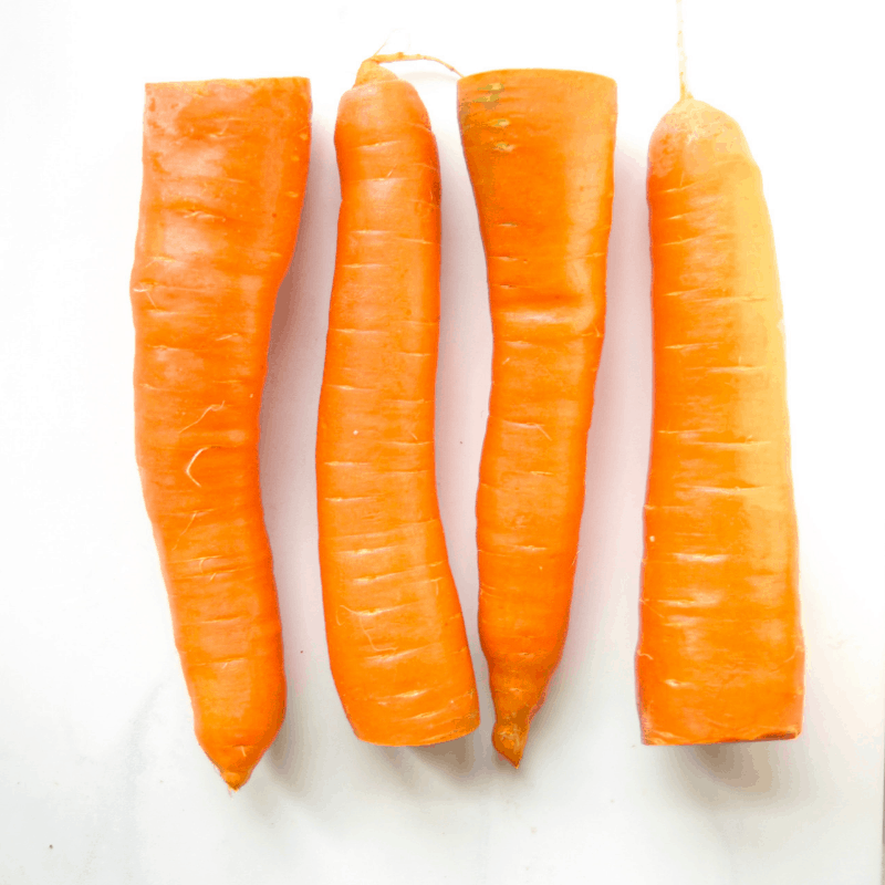 Fresh carrots with the greens removed.