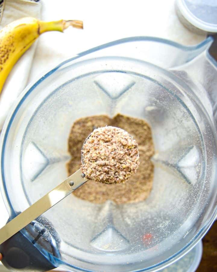 Put whole flaxseeds into a blender to make your own flaxmeal!