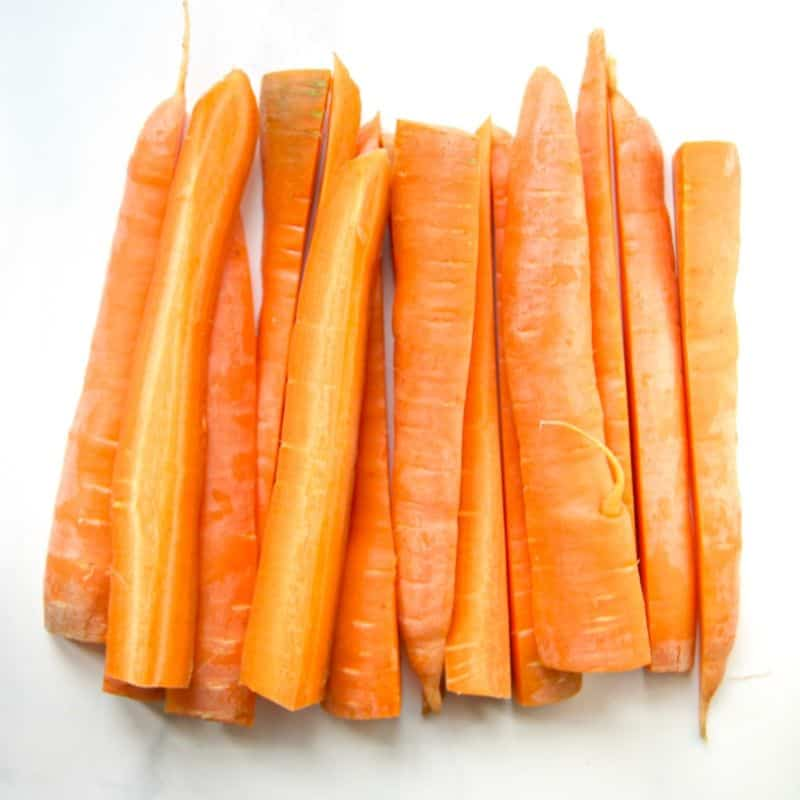 Sliced carrots on the counter.