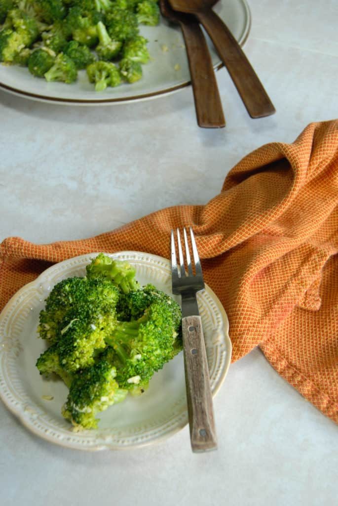Vegan broccoli side dish on a plate.