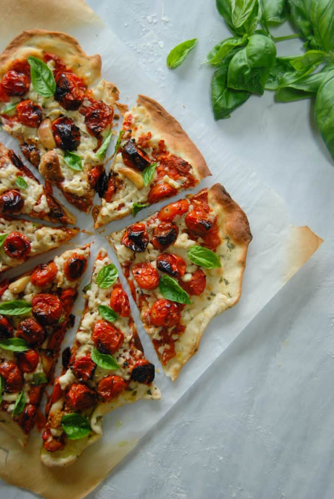 vegan cheese pizza recipe with fresh basil.