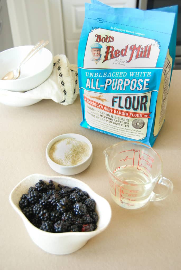 ingredients to make a vegan blackberry cobbler including bobs red mill all purpose flour