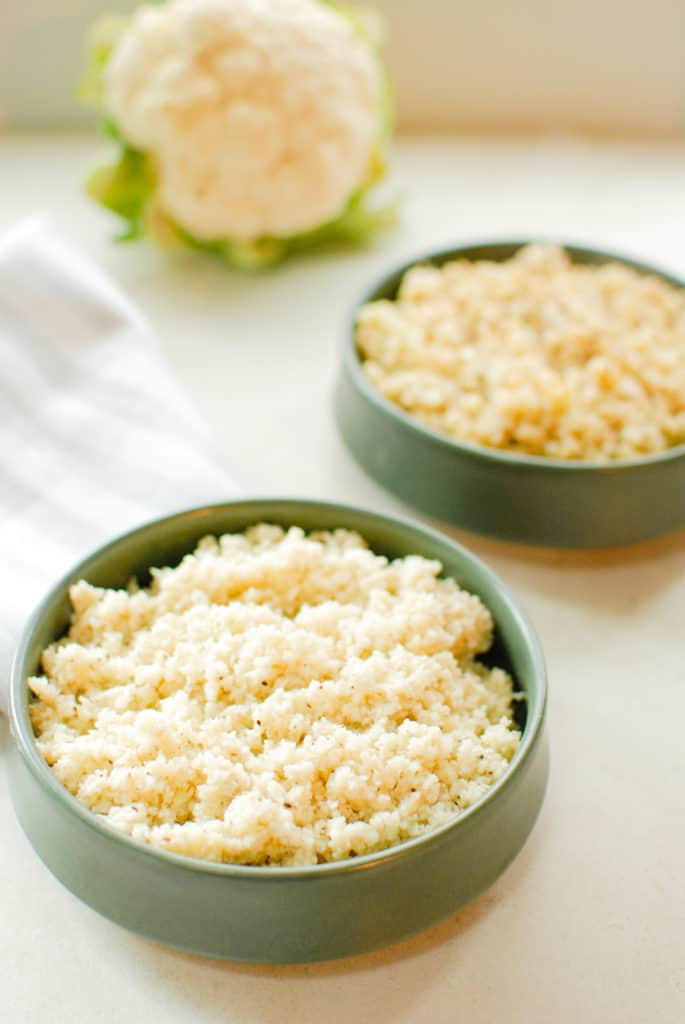 two bowls of cauliflower rice.