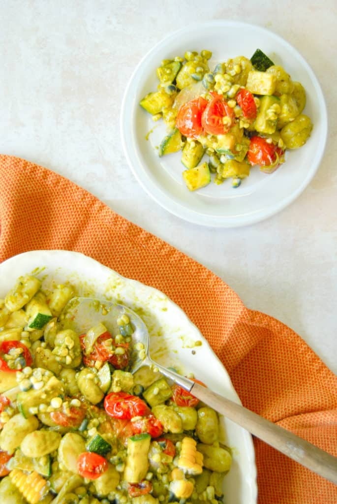 a serving of gnocchi with vegetable succotash
