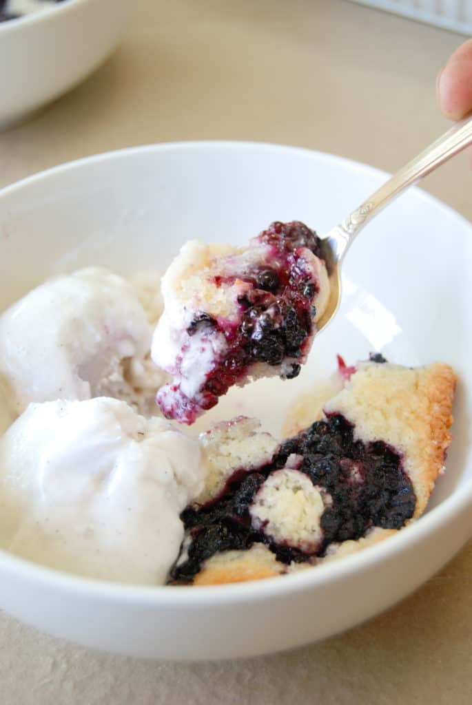 a bite of vegan blackberry cobbler and ice cream made using willamette transplant's recipe.