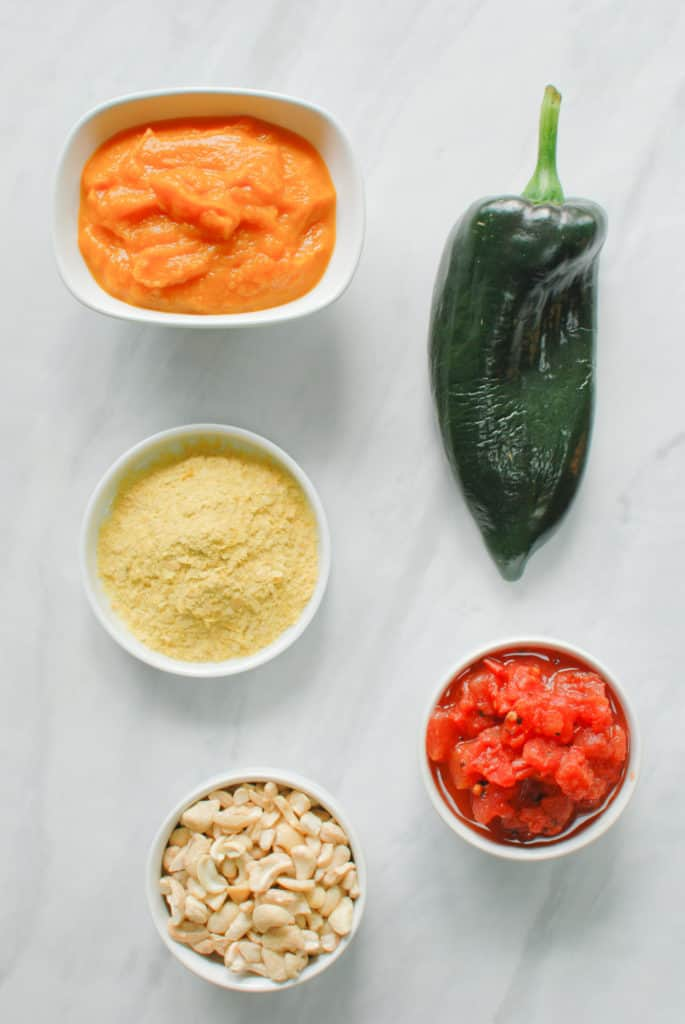 ingredients to make a savory pumpkin queso dip