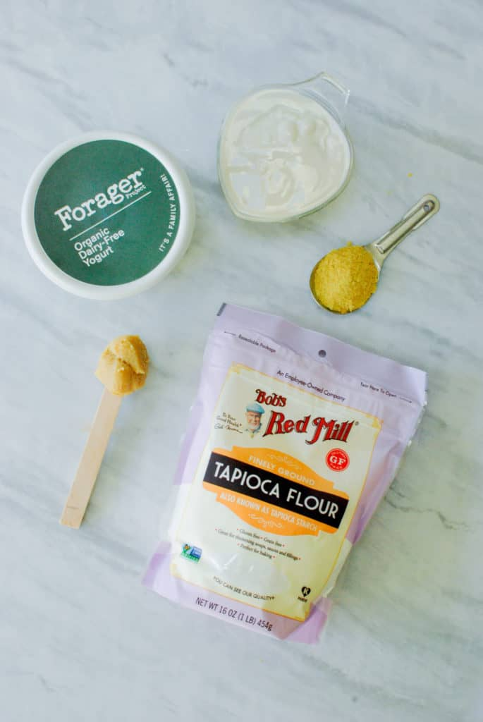 ingredients to make melty vegan cheese on a counter