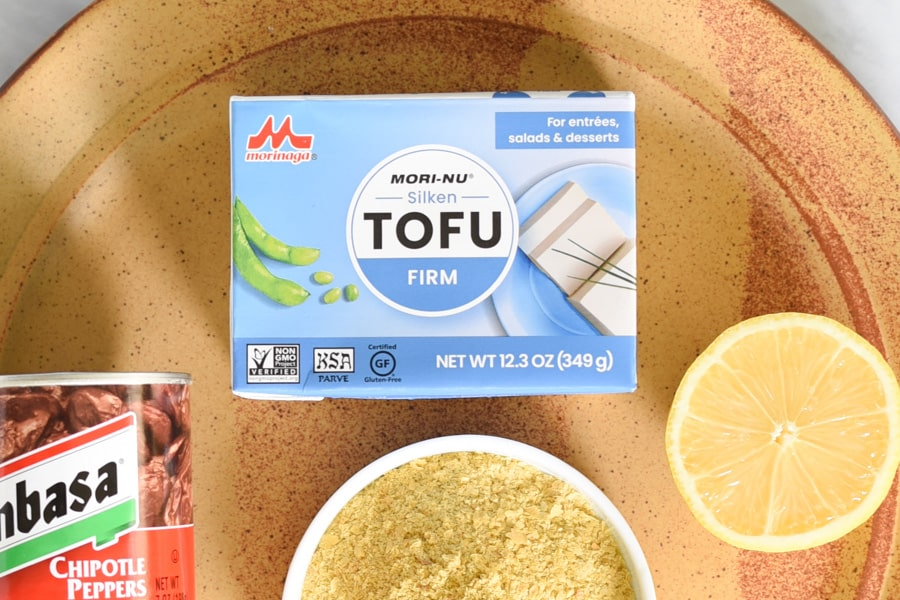 a box of silken tofu next to other ingredients