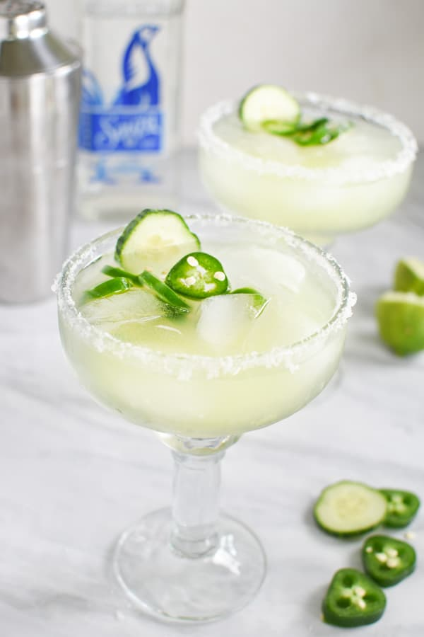 spicy jalapeno margaritas in fancy glasses