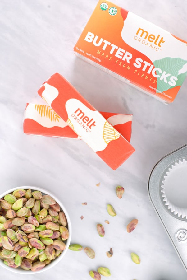Melt butter stick and pistachios