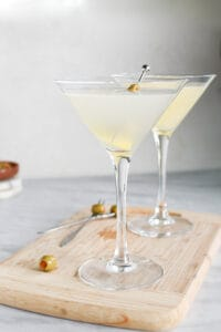 2 tequila martinis, mexican style in tall glasses