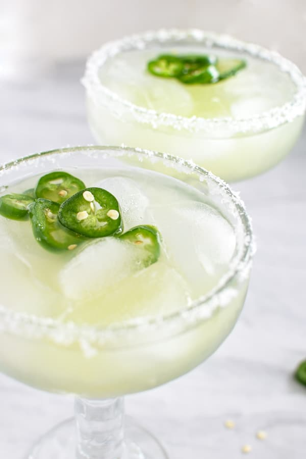 homemade cucumber margaritas with jalapeno