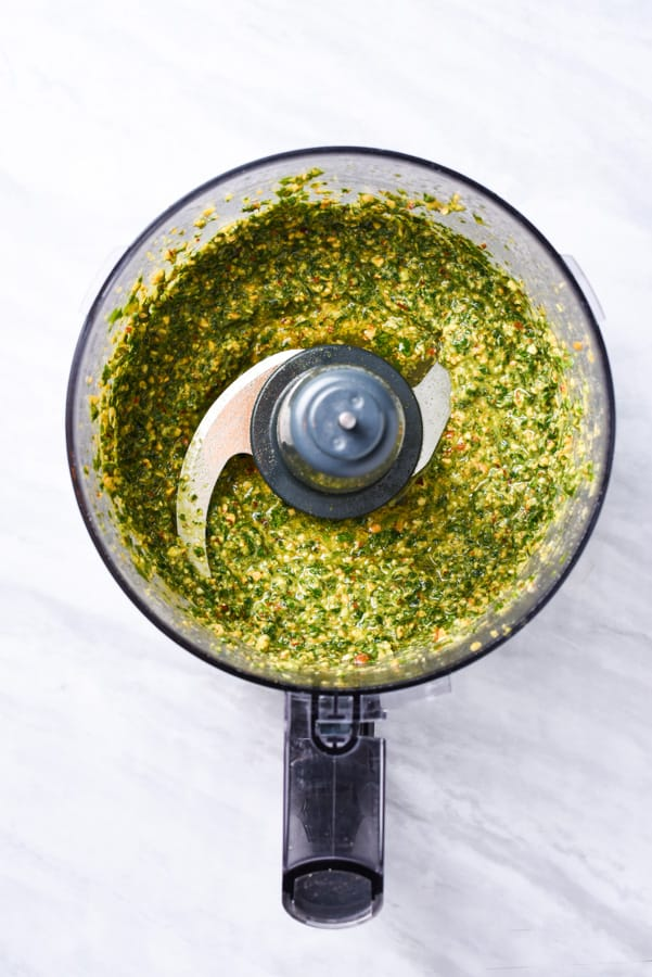 parsley pesto after pureeing in a food processor