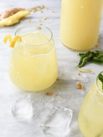 2 glasses of homemade ginger juice