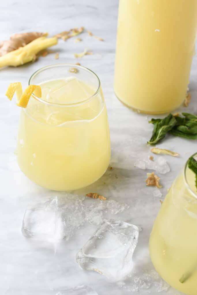 2 glasses of homemade ginger juice