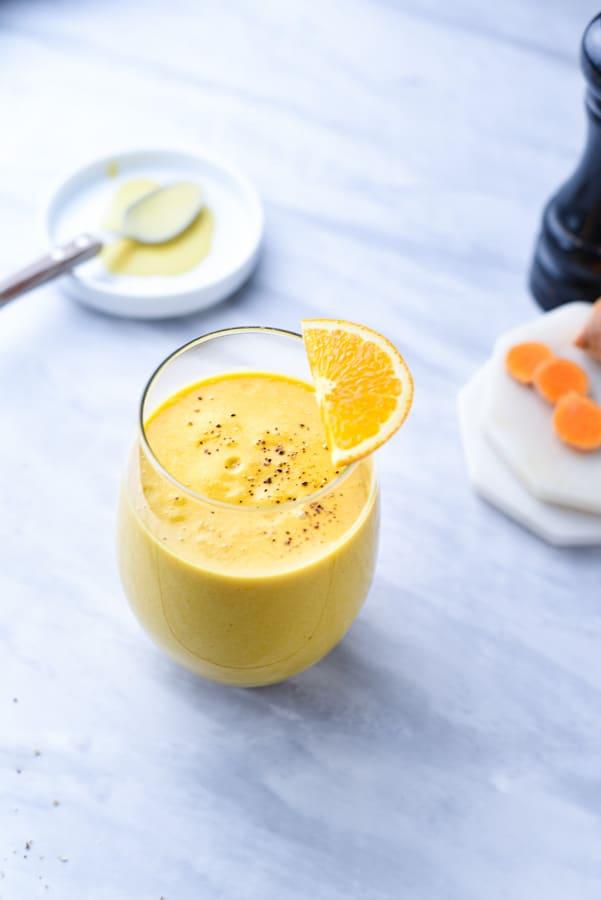 A bright orange smoothie
