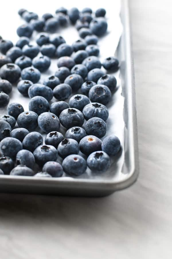 blueberries on a sheet pan