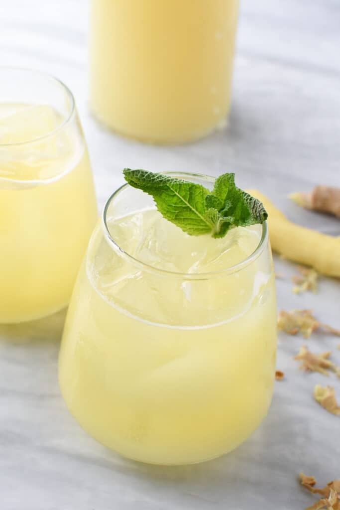 glass of homemade ginger juice