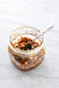 Homemade chili crisp in a jar using willamette transplant's recipe
