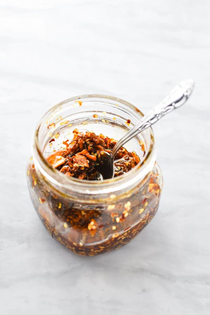 Homemade chili crisp in a jar using willamette transplant's recipe