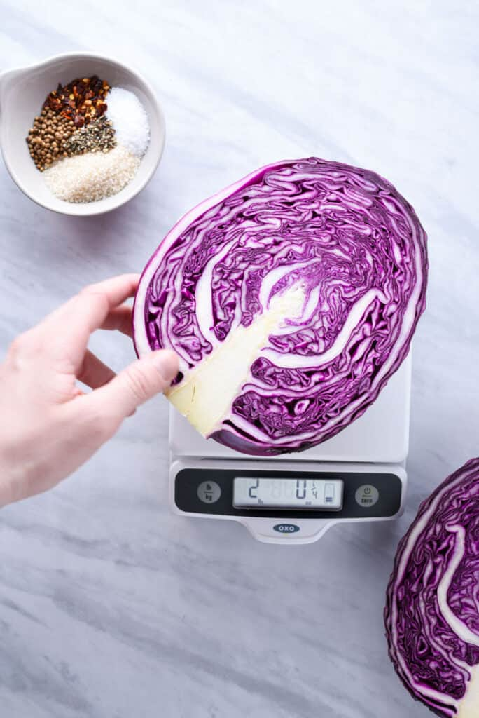 A head of cabbage on a kitchen scale.