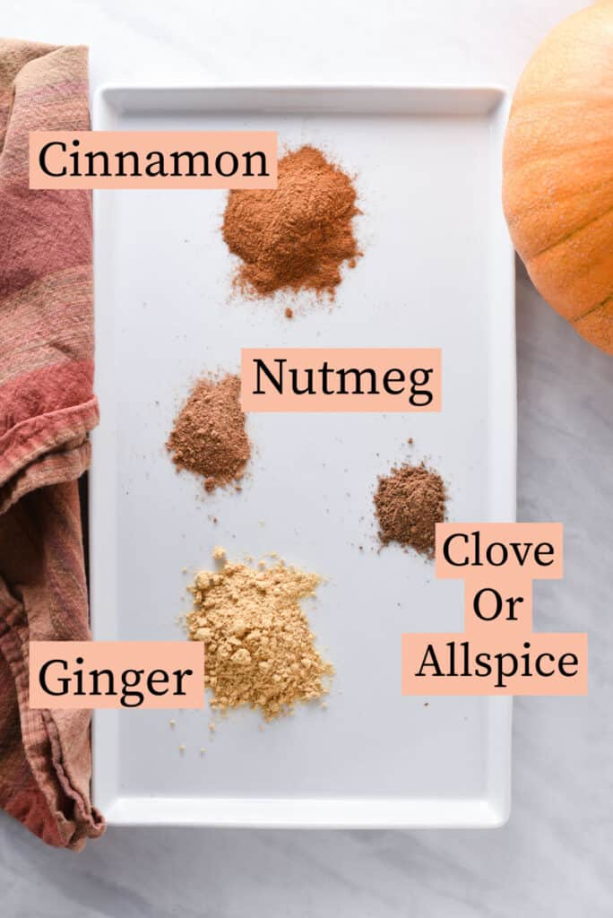 An image listing spices used in pumpkin pie spice: cinnamon, ginger, nutmeg, and allspice or clove.