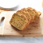 Pumpkin bread on a cutting board