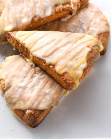 pumpkin scones on a platter