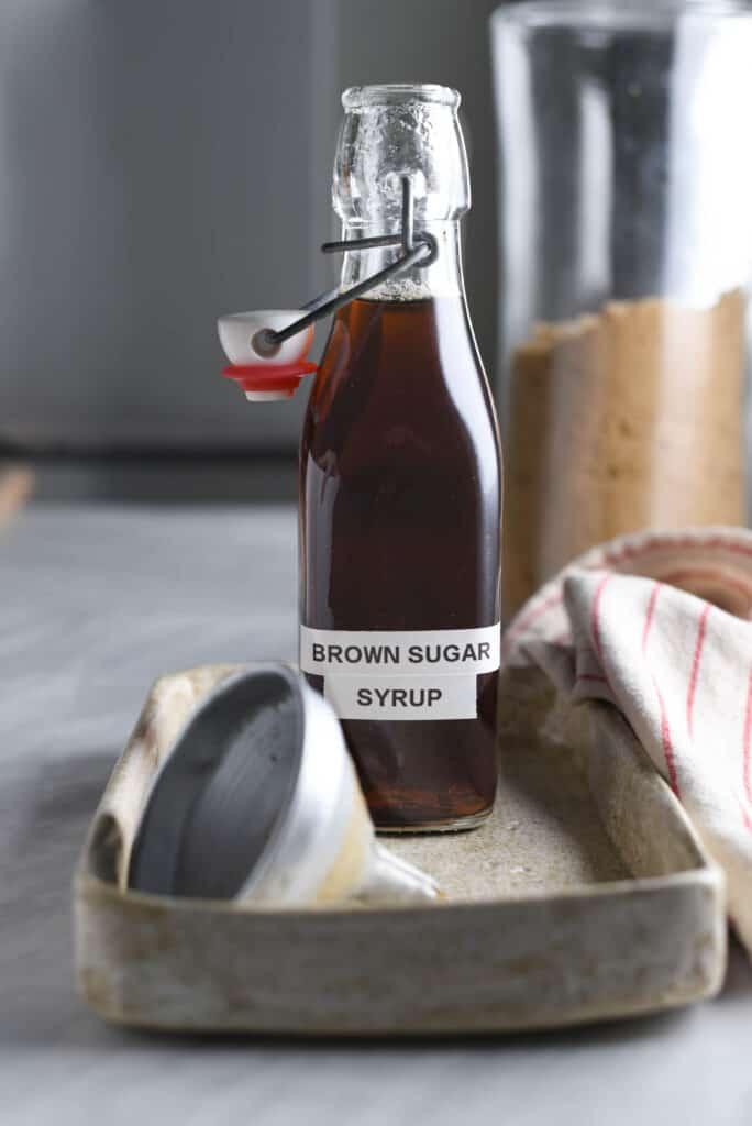 Bottled homemade brown sugar syrup
